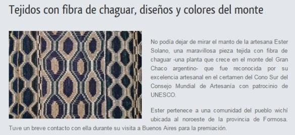 nota arte popular chaguar